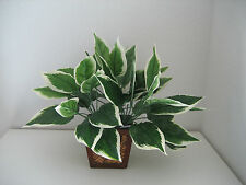 3 Bushes~Artificial Hosta Leaves Silk Greenery Plant Home Interior Decor-w/o pot