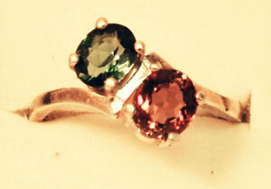 Sterling Silver, Two Stone,Red & Green TOURMALINE Ring