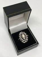 Vintage Dress Ring Silver Tone Glass & Diamante Size Q Pretty Sparkly Costume