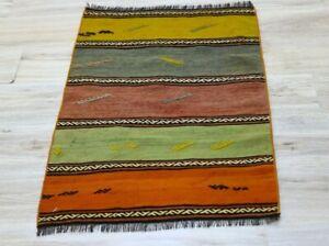 Colorful Handwoven Ethnic Kilim Doormat Rug Cappadocia Vintage Wool Carpet 2x3ft