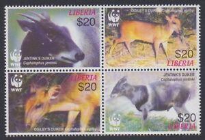 Liberia WWF Duikers Block of 4 2005 MNH MI#5100-5103 SC#2370 a-d