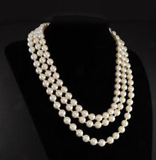 new Jacqueline Kennedy First Lady Triple Strand real White Pearl Necklace 17-19""