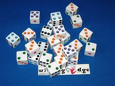 NEW 12 WHITE DICE w/ COLORED PIPS 16MM FREE SHIPPING BUNCO CRAPS YAHTZEE
