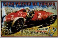 Gran Premio De Europa 1953 Letrero Metal 3D en Relieve Cartel Lata 20 X 30CM