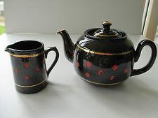 Vintage Black & Red Polka Dot TeaPot and Milk Jug ( ALB )ALCOCK LINDLEY & BLOORE