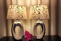 2 Lampen weiß silber Nachttischlampe Leuchte Keramik Tischlampe Tischleuchte B