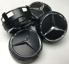 Mercedes-AMG 75mm x4 KIT Schwarz AMG-Stil Nabendeckel Mitte Emblem Nabenkappen