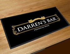 Personalised Gold Beer label bar runner Mat Pubs Clubs & Cocktail Bars