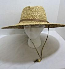 Unisex Straw Sun Hat w/ Adjustable Chin Strap Western Bucket Hat Wide Brim 1189