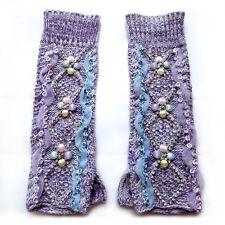 purple crystal lace flower beaded arm warmer kintted fingerless mitten gloves