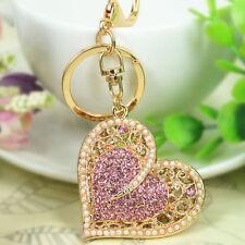 New Imitation Pearl Heart  Keyring Rhinestone Crystal Pendant Keychain Love Gift