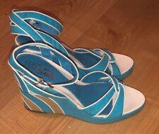 FERRAGAMO Sandals Turquiose Tan White Leather Trim Wedge Ankle Strap 9.5 B