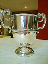 More details for large solid irish silver hm1912 trophy cup antique 474g twin handle sterling