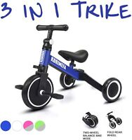 3 in 1 Kids Trike Tricycle Baby Balance Bike Toddlers w/ Removable Pedals Blue