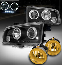 06-09 DODGE CHARGER HALO LED BLACK PROJECTOR HEAD LIGHT W/YELLOW DRIVING FOG KIT