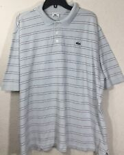 Lacoste Men's Short Sleeve Light Blue Striped Polo Shirt Size 46 (2X) Rare
