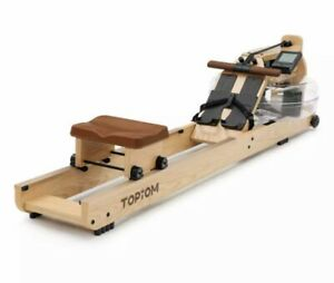TOPIOM Rowing Machine, Wooden Rowing Machine Water Resistance for Home Use Fitne