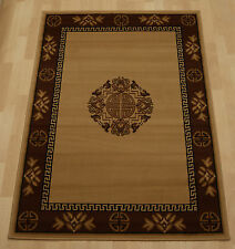 Cheap Budget Beige Border Medallion Chinese Oriental large dining rug 120x170 cm