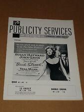 """Back Street""(Susan Hayward/John Gavin/Vera Miles) 1961 UK Press Book/Sheet"