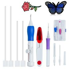Magic Embroidery Pen Punch Needle Set Stitching Tool DIY Craft Threaders #HN