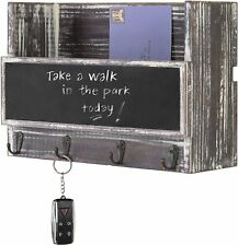 Wall-Mounted Torched Wood Mail Holder Organizer with 4 Key Hooks & Chalkboard