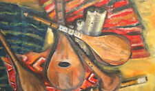 Vintage Impressionist oil painting music instruments