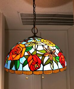 Enjoy Rose Flower Stained Glass  Antique Vintage Pendant  Light W16*H47 inch