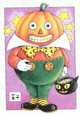 Mr. Pumpkin Head Black Cat-Handcrafted Fridge Magnet-w/Mary Engelbreit art