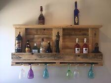 Wood Wine Bottle Rack Glasses Holder Display
