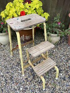 Vintage Retro Yellow Tubular Metal Wooden Fold Away Kitchen Steps Stool