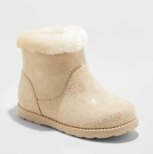 Toddler Girls' Alani Faux Fur Shearling Boots - Cat & Jack Tan Glitter Sparkle
