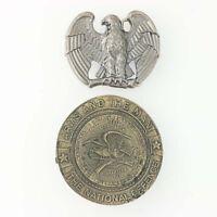 Set of 2 Eagle Belt Buckles NRA Vintage Americana Western Patriotic