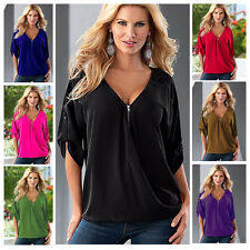 Plus Size S-5XL Women Ladies Summer V Neck Tops T-shirt Casual Loose Blouse Tee