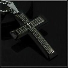 Para Mujer Hombre Acero Inoxidable Cruz Colgante Negro Biblia Collar Inglés Lord