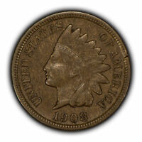1908-S 1c Indian Head Small Cent - Wood Grain - Original VF+ Key Date - Y3294