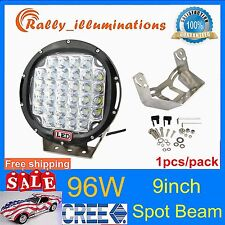 1X Round 9Inch 96W Cree Led Driving Spot Work Light Jeep 4WD Offroad HID SUV 4X4