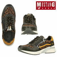 Mustang Womens Low Top Comfort Leopard Pattern Lace Up Zip Up Trainers Sneakers