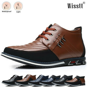 Mens Nonslip Military Flats Leather Mid Ankle Moccasins Casual Dress Boots Shoes