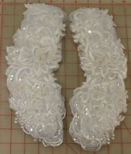 "24 beautiful beaded sequins white applique pair embroidered flower design 11""x3"""