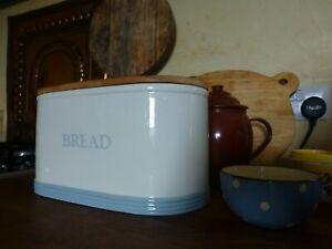 Ceramic Cream and Pale blue Bread bin