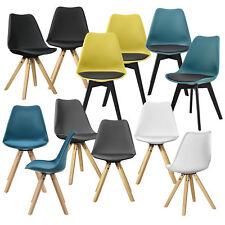 [en.casa] 2x Design Stühle Esszimmer Stuhl Holz Kunststoff Kunst-Leder Plastik