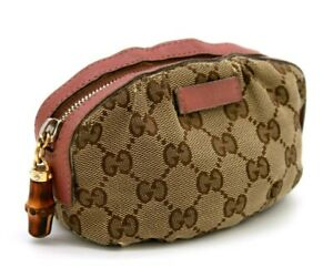 【Rank B】 Authentic Gucci GG Canvas Bamboo Cosmetic Pouch Pink Leather 246174