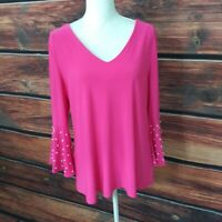 S.levine top Woman's Pink V-Neck Pearl Embellished Bell Sleeve Stretch Blouse L
