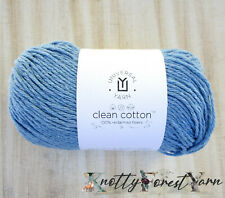 Clean Cotton Yarn 100% Recycled Fiber Worsted Vegan #215 Bluebell Floral Blue