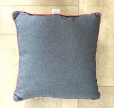 Blue Chambray Denim Pink Edged Cushion 16x16 Inch GREAT CONDITION!!