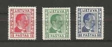 Lithuania Litauen Lietuva 1936 MH Mi 410-412 Sc 298-300 President Smetona Issue