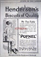 1921 Henderson's 'PUFNEL' Dainty Biscuits AD - Small Original Print ADVERT