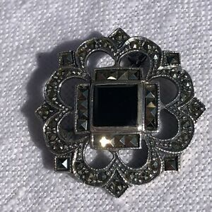 Vintage Marcasite and Black Onyx Art Deco Style Sterling Silver Brooch