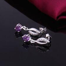 Sterling Silver Plated Drop Dangle Stud Earrings Purple Zirconia L42