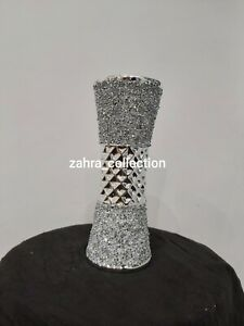 Crushed Crystal Diamond Silver Romany Bling Ceramic Vase M NEW